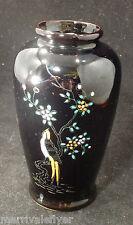 Vintage JAPANESE LONG TAILED BIRD Handpainted Porcelain VASE Japan