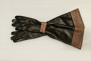 Ted Baker Women's Black/Brown Ruched Detail Leather Long Gloves M/L