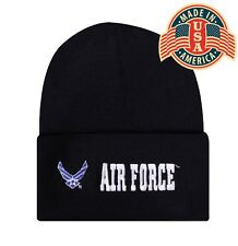 Military AIR FORCE Cuffed Embroidered Beanie Hat Sock Cap Head Wear Capsmith