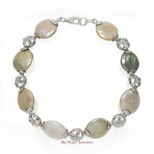 Solid Sterling Silver .925 Plumeria Links Multi-Color Coin Pearl Bracelet - Tpj
