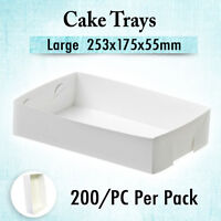 200 Cardboard Trays Large 253x175x55mm,Takeaway Cakes Chips Disposable Food Tray
