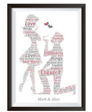 Personalised Word Art Engagement Wedding Couple Picture Print Present Gift