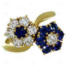 VAN CLEEF & ARPELS Fleurette Diamond Blue Sapphire Double Flower Ring