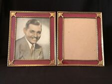 Stunning Pair of Vintage Ornate Brass Picture Photo Frame Cloth Matted 12''x10'&# 039;