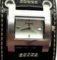 Fossil JR-8148 Date Watch Wide White Stitch Black Leather Band WR 30m New Batt
