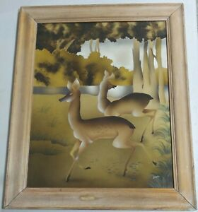 SIGNED BENJAMIN JORJ HARRIS WATERCOLOR AIRBRUSH PAINTING EAMES ERA ORIGINAL ART