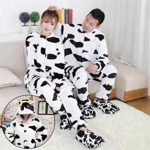 Animal Pyjamas Kigurumi Pajama Adults Cow Cosplay Flannel Nightwear Party Gifts