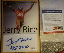The Bar Super Souvenirs Jerry Rice Auto With COA PSA/DNA Certified