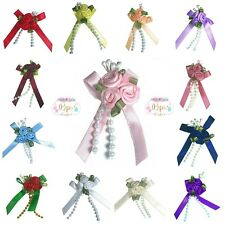 Satin Ribbon Rose Bow Triple Cluster With Bead Trim Crafts Sewing Haberdashery