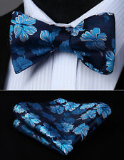 Navy Blue Flower Self Bow Tie Pocket Square Butterfly Silk Set#BF809VS
