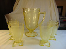 Yellow  Depression glass No. 612 pitcher and 6 tumblers