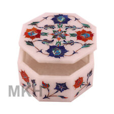 Handmade Inlay Trinket Jewelry Boxes Mosaic Vintage Marble Jewellery Box Agra
