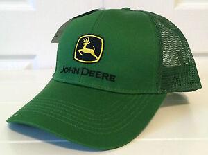 John Deere Green Fabric & Mesh Hat Cap with Vintage Logo in Yellow & Black
