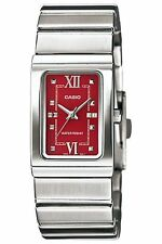 Casio LTP1356D-4A Ladies Silver Stainless-Steel Quartz Watch with Red Dial