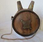 Rare  antique primitive old barrel wooden VESSEL canteen  flask bottle