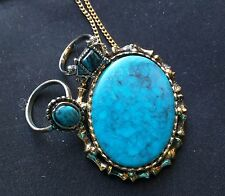 Vintage faux Turquoise Brooch Pin Necklace Pendant and Ring Set