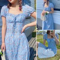 US Womens Summer Dress Square Neck Casual Tunic Dress Short Sleeve Slip Dresses