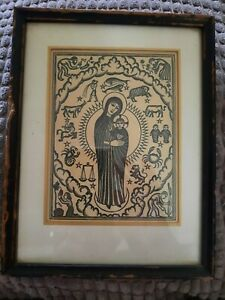 Vintage Madonna and Child Woodblock Astrological Signs