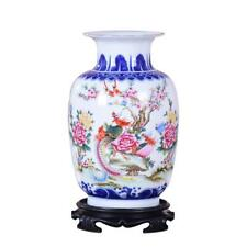 Blue And White Ceramic Vase Pheonix Porcelain Flower Ancient Chinese Figure Stor