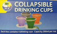 Collapsible Silicone Drinking Cups x 4  - 260ml per cup - BPA Free  -  HW3000