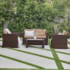 Rattan 4 PC Furniture Set Outdoor Patio Garden Sectional PE Wicker Cushion Sofa