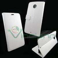 Custodia eco pelle BIANCA per Motorola Google Nexus 6 flip cover STAND bianco
