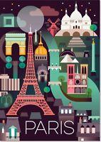 Paris France Eiffel Tower Vintage Travel Art Deco Poster Reproduction