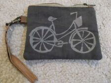 brown padded canvas bicycle bike wristlet pouch leather strap cell phone case
