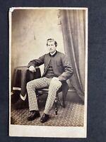 Victorian Carte De Visite CDV: Handsome Large Gent Check Trousers