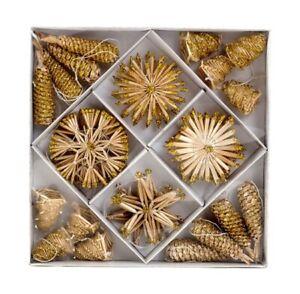 24tlg Weihnachtlicher Zierschmuck Strohpuppen Set aus Strohsternen Zapfen,