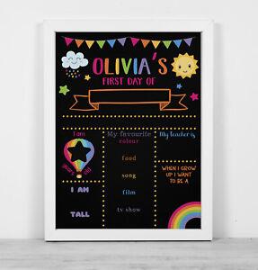 Personalised framed blackboard print  reusable first day school pink rainbow