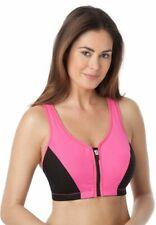 Glamorise High Impact Zip Front Sport Bra Black/Pink UK 40F LN102 AA 10