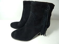 SAM EDELMAN - Woman's 7 M - Black Suede Leather Fringe Boots Side Zip - NWOB