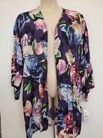 LA BLANCA Women's One Size Floral Kimono Sleeve Cardigan Beach Cover Up $109