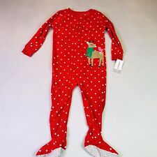 Carters Toddler Girl 3T Red Deer Fleece Blanket Footed Sleeper Pajamas Holiday