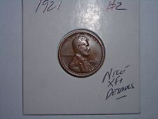 wheat penny 1921 LINCOLN CENT HIGH GRADE XF+ DETAILS 1921-P LOT #2 SEMI-KEY DATE