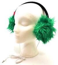 Winter SO Women Men Bright Green Faux Fur Fuzzy Funky Ear Warmer Headphones 3604