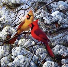 """Winter/'s Song Cardinal Print By Derk Hansen  Image Size 10..5/"""" x 21/"""""""