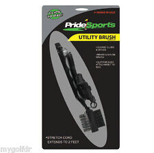 GOLF UTILITY BRUSH - FOR CLUBS & SHOES, W / 2 FT STRETCH CORD FOR GOLF BAG.