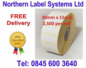30mm x 15mm WHITE Direct Thermal Labels 2,500 per roll for Zebra type printer