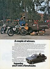 1975 Toyota SR-5 Sport Truck Print Ad w Yamaha MX100 & MX125 Motocross Dirtbikes