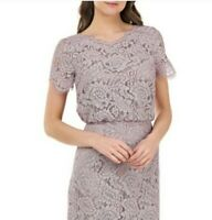 JS Collections Blouson Lace Gown Taupe Size 12 NWT