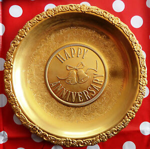 Vintage Gold Colour Anniversary Plate