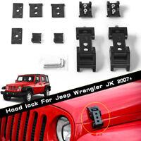 2X Black Car Hood Lock Latch Bracket Buckle Catch Looking for Wrangler JK 07-17