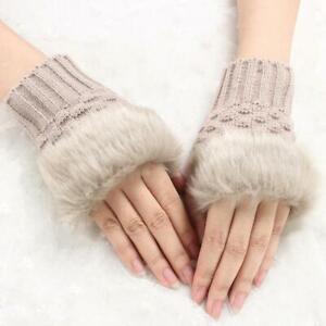 2 PACK Women's Fingerless Fluffy Gloves Winter Warm *NEW*