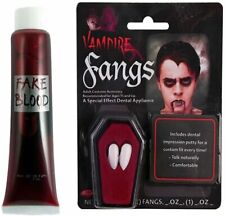 Dracula White Vampire Fangs Teeth Caps Fancy Dress With Putty Adhesive Halloween