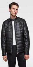 Men's Zara Leather Down Jacket Puffer Coat NWT L Black