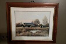 "1970s Gene Speck Wood Framed Old Barn Farm Landscape Repro Print 20""x 24"""