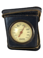 Vintage 1900s LEATHER Travel Thermometer by WEAVER Zippered Pouch DOES NOT WORK