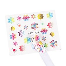 Nail Art Water Decals Stickers Christmas Rainbow Neon Ice Gold Snowflakes (S779)